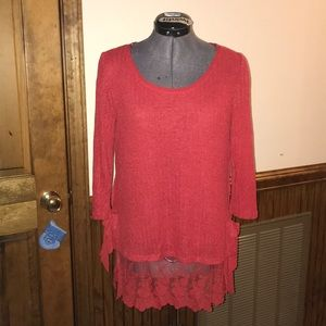 Red lace sweater